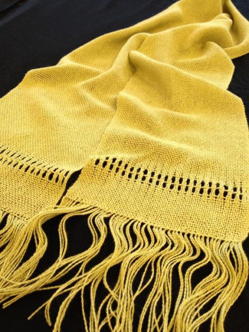 Handwoven Lace Lined Scarf