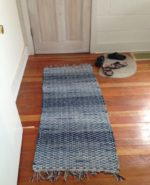 This is a rag rug made of jeans from a visit the Mennonite thrift store when we visit my family in Virginia.