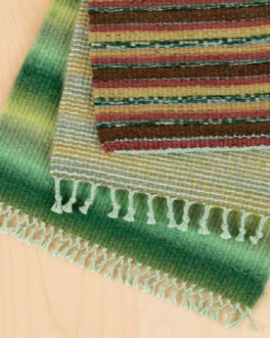 Mini Rugs Made from Stock Yarn. Pattern in Handwoven Home