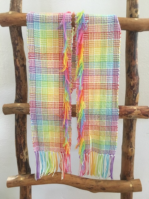 Woven Scarf in Log Cabin and Rainbow Colors