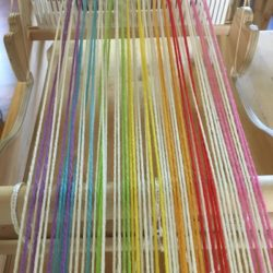 Rainbow Warp for Log Cabin Mini Skein Scarf