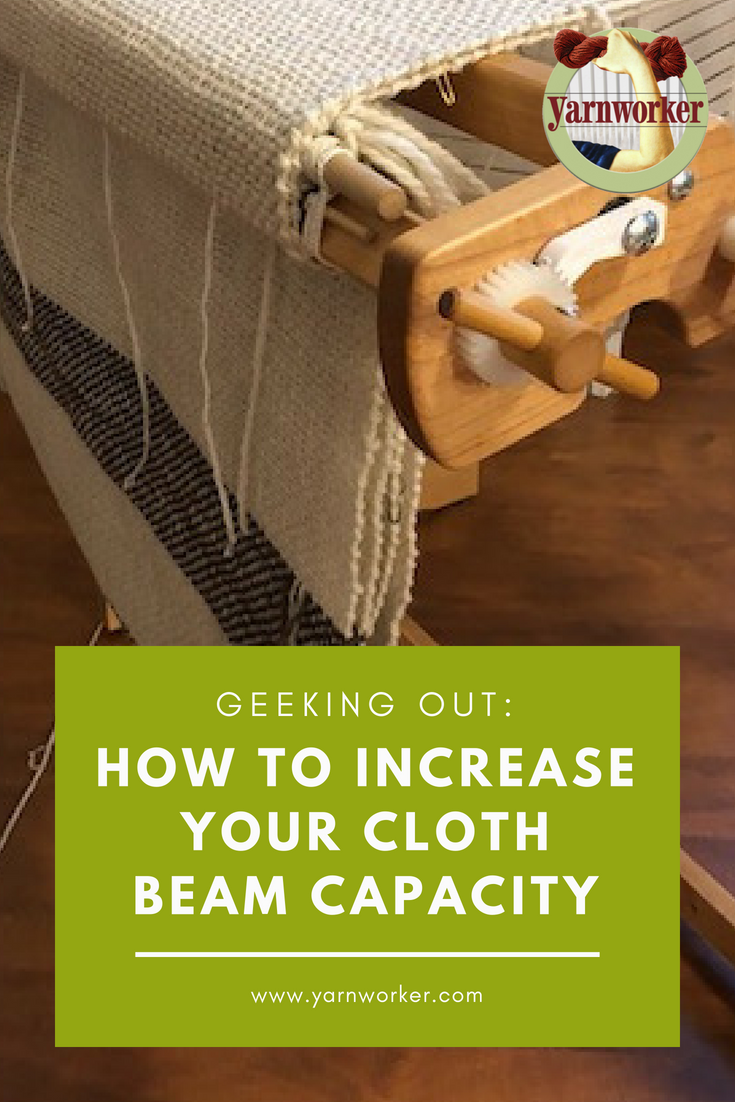 "I often get asked, ""How much warp can I pack on the beam of my loom?"" The limiting factor is often how much woven cloth can you fit on your cloth beam, since the woven cloth is twice as bulky as the warp. Eventually, the woven cloth will press up against the warp and you won't be able to get a clean shed."