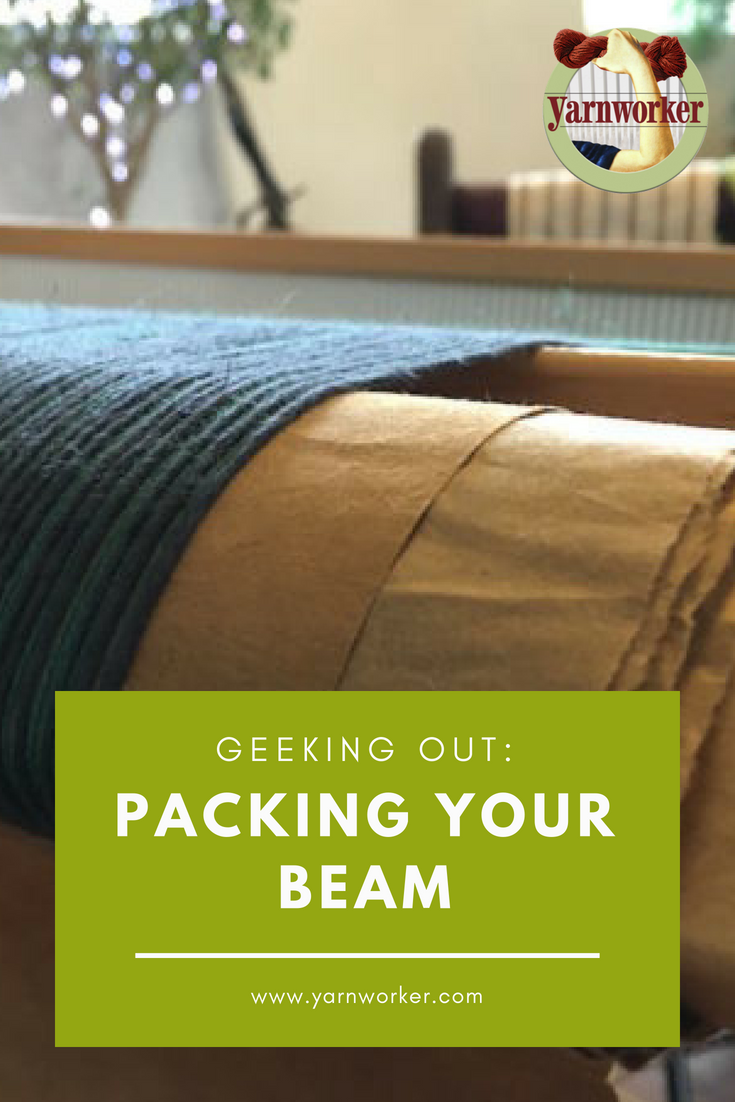 Packing material gives you a smooth surface to wind your warp around on the back beam of your loom. This prevents the layers of your warp threads from intermingling, which can cause tension problems.