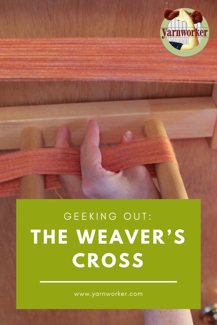 The weaver's cross can cause anxiety for those who are just learning how to use a warping board. The purpose of the cross is to keep the yarn in order so that you can thread the rigid heddle or reed in the same order that you wound the warp. This decreases snagging that can cause tension issues as you wind the warp on the back beam.