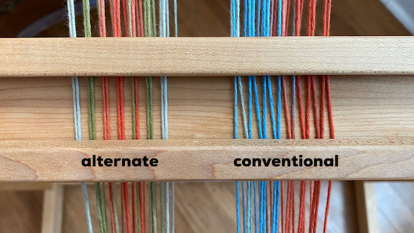 alternate and conventional two heddle threading