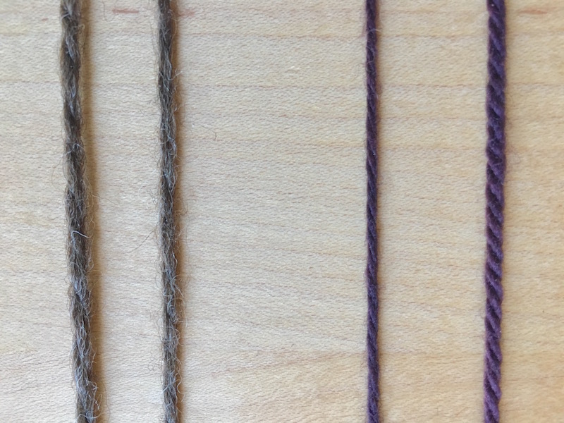 two similar yarns with varying elasticity