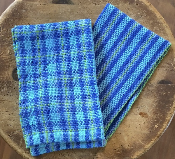 Striped and plaid towels from Weaving 201.