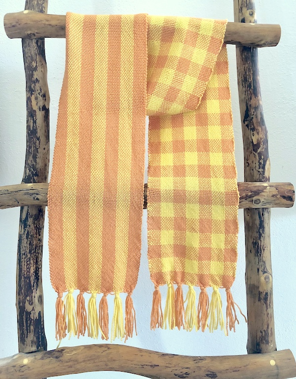 stripes and checks in a single scarf