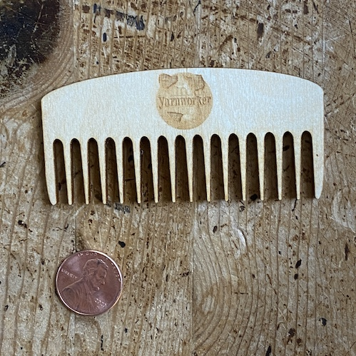 mini comb made of birch with Yarnworker logo