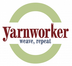 """Yarnworker's new logo with tag line """"weave, repeat"""" and a little shuttle incorporated into the leg of the K."""