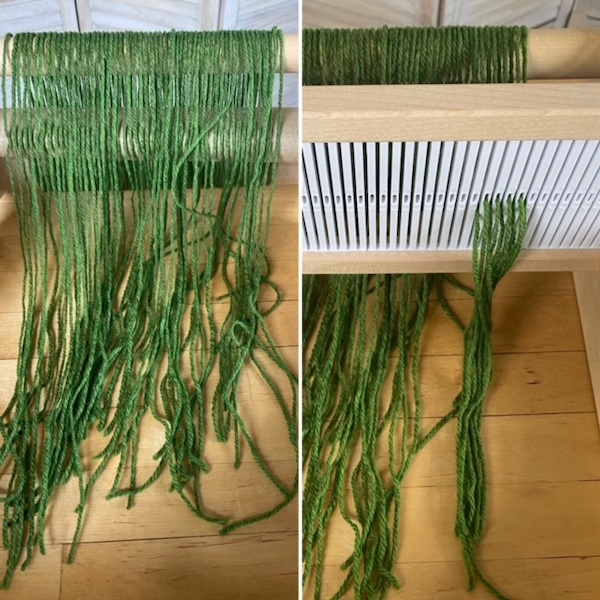 loom with the heddle removed (on left); a new heddle inserted and partially rethread (on right)
