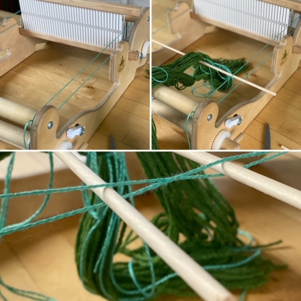 a loop of yarn strong from the front of the loom to the back to suspend sticks